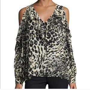 Parker Roland Cold Shoulder Leopard Blouse